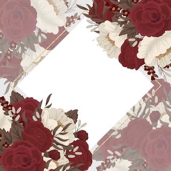 Cornice di fiori rossi