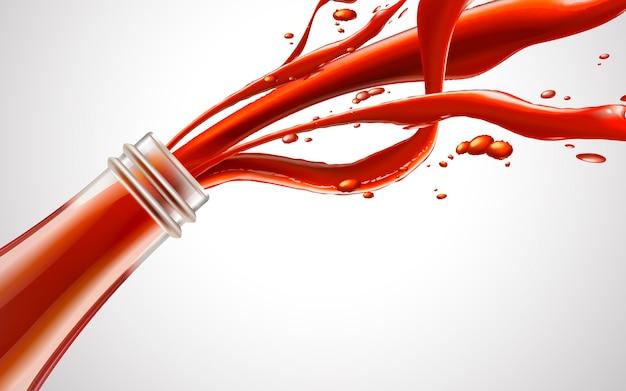 Liquido rosso dall'illustrazione bianca del fondo 3d della bottiglia di vetro