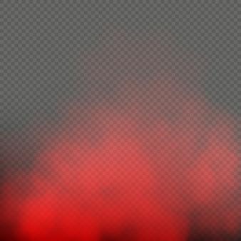 Effetto fumo speciale di colore rosso nebbia o nebbia isolato su sfondo trasparente.