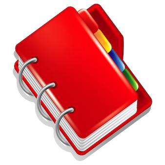 Cartella rossa con segnalibri colorati