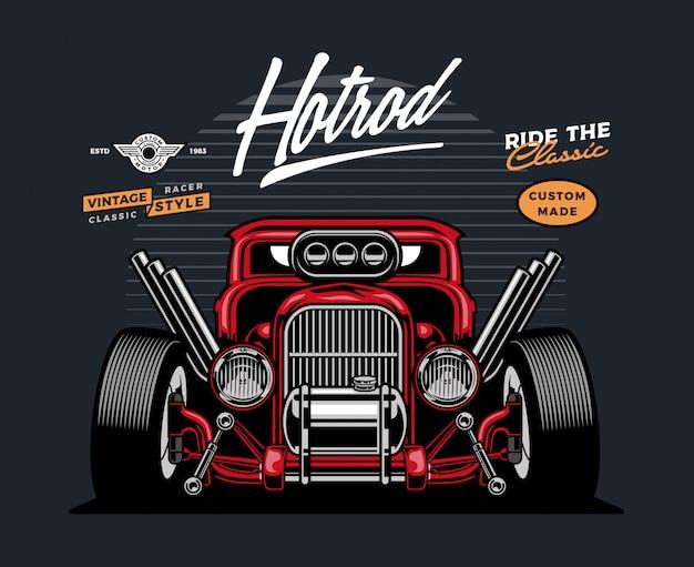 Auto hotrod fronte rossa Vettore Premium