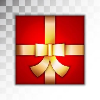 Confezione regalo rossa su sfondo trasparente
