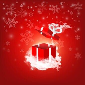 Confezione regalo rossa che vola aperta su una nuvola con sfondo fiocco di neve