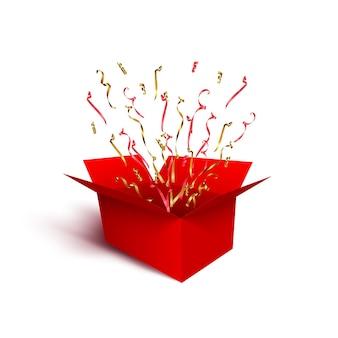 Confezione regalo rossa con nastri rossi e dorati serpentine e coriandoli isolati su sfondo bianco