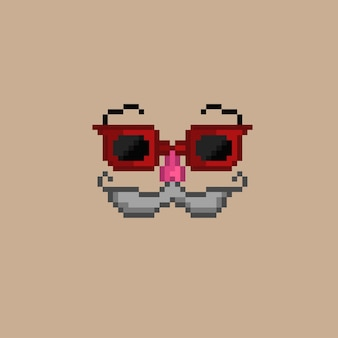 Maschera per occhiali rossi con stile pixel art