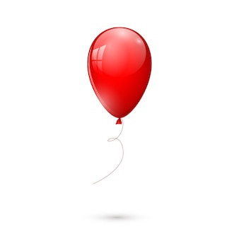 Palloncino rosso lucido isolato su sfondo bianco