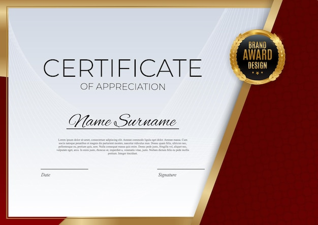 Modello di certificato di successo rosso e oro