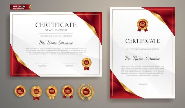 Certificato di apprezzamento rosso e oro con badge oro e modello di bordo