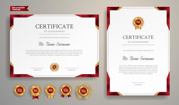 Modello di bordo certificato rosso e oro per documenti aziendali, di diploma e di istruzione