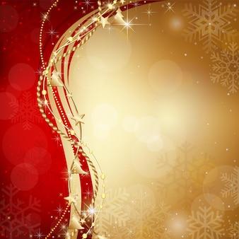 Sfondo bokeh di natale rosso e oro con fiocchi di neve e ghirlande