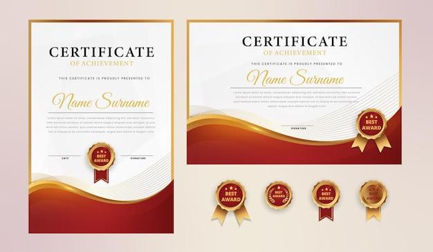 Modello di certificato elegante oro rosso