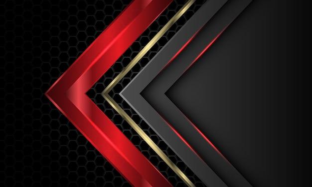 La direzione della freccia grigio oro rosso si sovrappone al fondo futuristico di lusso della maglia esagonale metallica scura