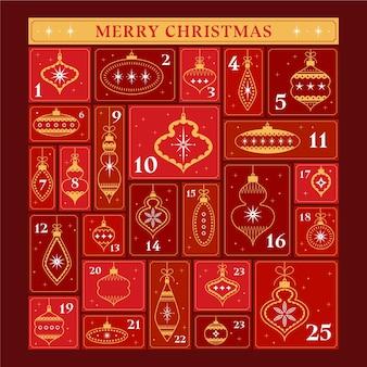 Calendario dell'avvento rosso e dorato