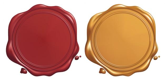 Sigillo di cera rossa e dorata Vettore Premium
