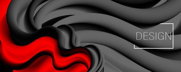 Gradiente rosso. inchiostro liquido. onda. colore fluido.