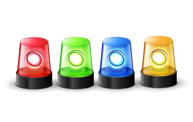 Allarme lampeggiante rosso verde blu e giallo della polizia