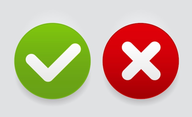 Illustrazione di vettore del pulsante delle icone del segno di spunta rosso e verde eps10