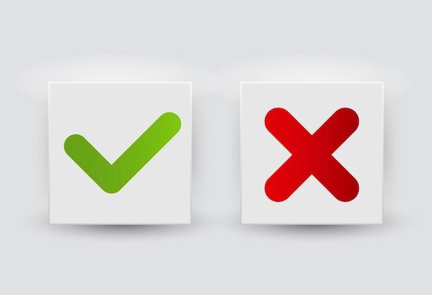 Illustrazione di vettore del pulsante delle icone del segno di spunta rosso e verde