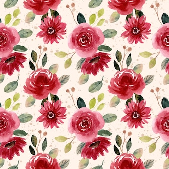 Reticolo senza giunte dell'acquerello del giardino fiorito rosso verde