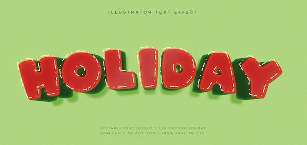 Effetto carattere stile testo vacanza rosso e verde