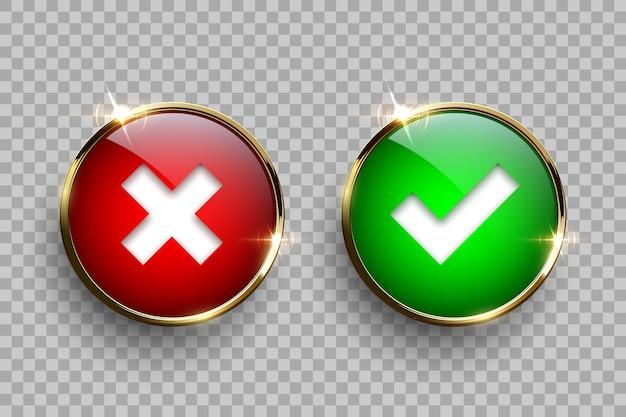Bottoni di vetro rotondi rossi e verdi con cornice dorata con segni di spunta e croce isolati su sfondo trasparente.