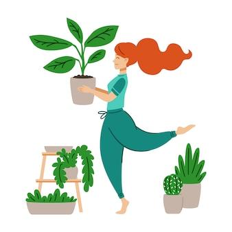 Ragazza dai capelli rossi che balla con un vaso di fiori nelle sue mani. una donna si prende cura della pianta d'appartamento. pazza signora delle piante. lavoro a casa. illustrazione moderna di vettore nello stile piano del fumetto