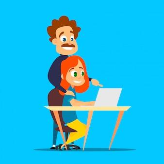 Ragazza dai capelli rossi sta studiando con un tutor privato su un laptop. illustrazione del fumetto dell'apprendimento moderno.