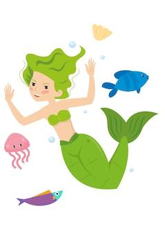 Principessa dai capelli rossi della sirena graziosa nel mare