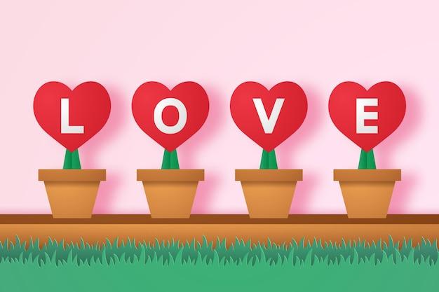 Cuore rosso in vaso di fiori con scritte ed erba in stile arte della carta