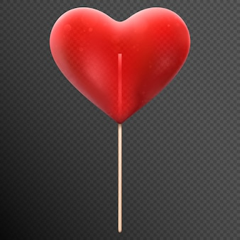 Lecca lecca di caramelle a forma di cuore rosso.
