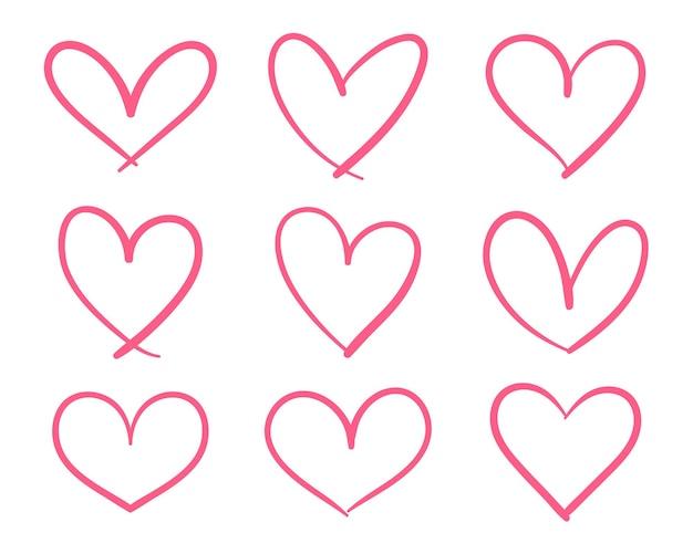 Disegno a tratteggio disegnato a mano a forma di cuore rosso. Vettore Premium