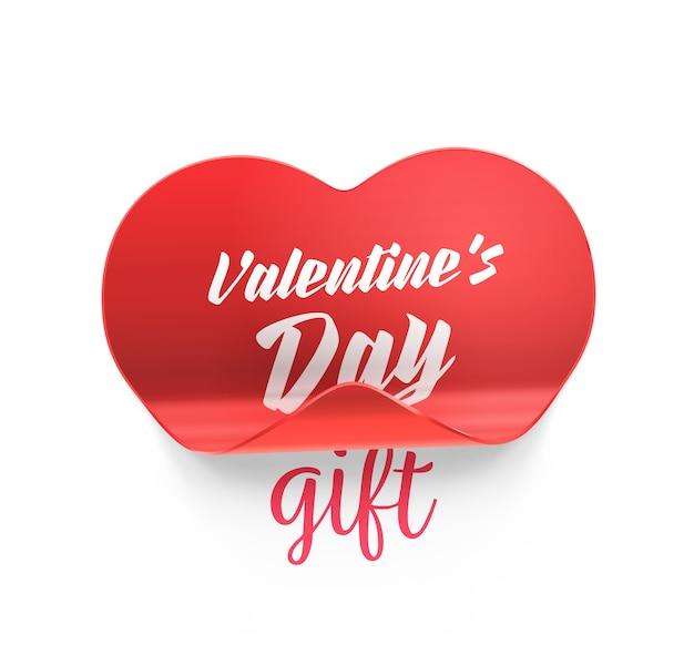 Adesivo cuore rosso con angolo piegato e realistica ombra di san valentino
