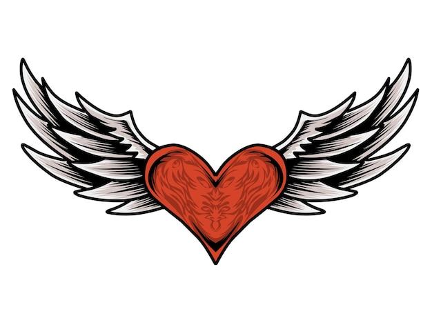 Ali di cuore rosso Vettore Premium