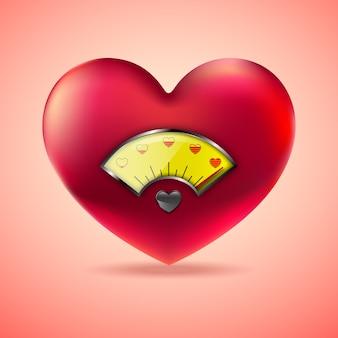 Cuore rosso con indicatore livello carburante, indicatore cuore amore