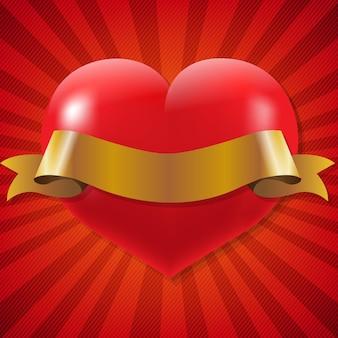 Cuore rosso con nastro con sfondo sunburst