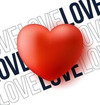 Cuore rosso con testo amore illustrazione.
