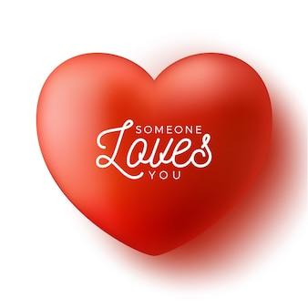 Cuore rosso con testo qualcuno ti ama