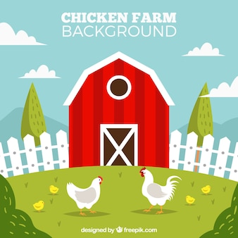 Red henhouse e polli sfondo