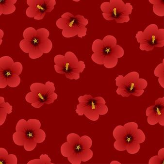 Red hibiscus syriacus - rose of sharon su sfondo rosso