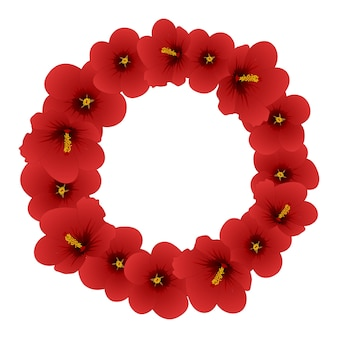 Red hibiscus syriacus - rose of sharon wreath.
