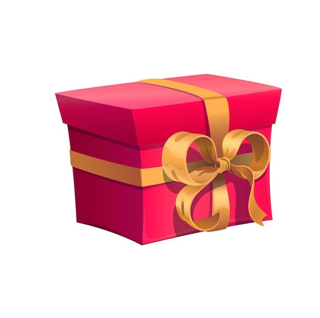 Confezione regalo rossa per le vacanze con fiocco dorato per regalo di compleanno. confezione regalo vettoriale isolata per la celebrazione del matrimonio, dell'anniversario o del regalo di vacanza con fiocco in nastro dorato in un involucro rosso