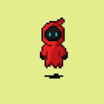Personaggio del destino del cappuccio rosso con stile pixel art
