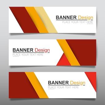 Modello di layout di banner orizzontale business rosso.