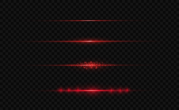 Razzi rossi con lenti orizzontali. raggi laser, raggi di luce orizzontali.