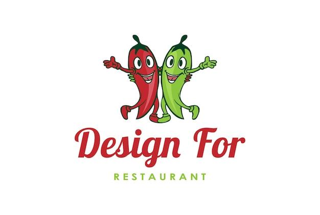 Personaggio dei cartoni animati della mascotte del peperoncino rosso rovente per il vettore di progettazione di logo del ristorante