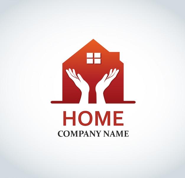 Logo design casa rossa per proprietà immobiliari