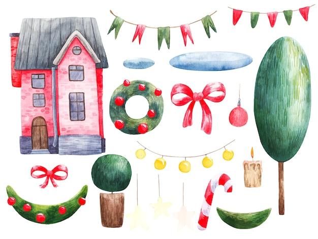 Casa rossa per illustrazioni di natale e capodanno, albero, ghirlanda, decorazioni natalizie. Vettore Premium