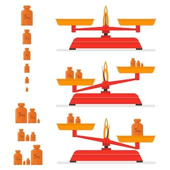 Bilancia da cucina rossa. strumento vintage per pesi in ferro. pesi diversi. bilancia. isolato su sfondo bianco. illustrazione vettoriale.