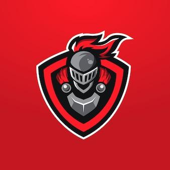 Logo mascotte cavaliere rosso