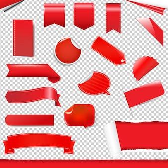 Set di etichette e adesivi rossi